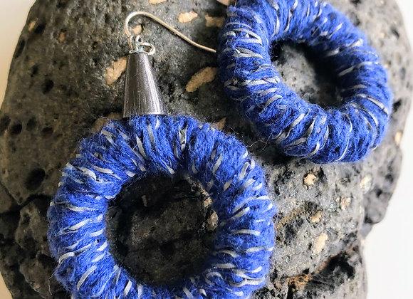 royal blue and gunmetal, wrapped hoop earrings