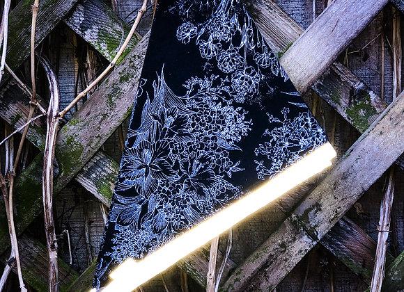 black floral reflective bandana