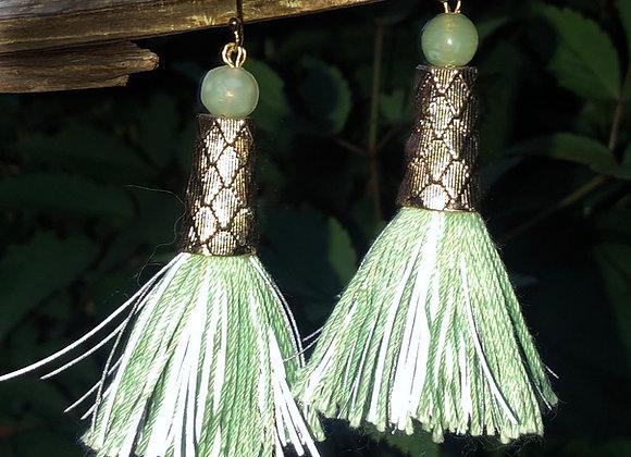 jade tassel earrings