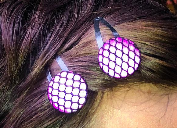 reflective fishnet hairclips, jewel tone