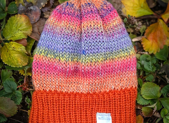 knit reflective hat, sunset