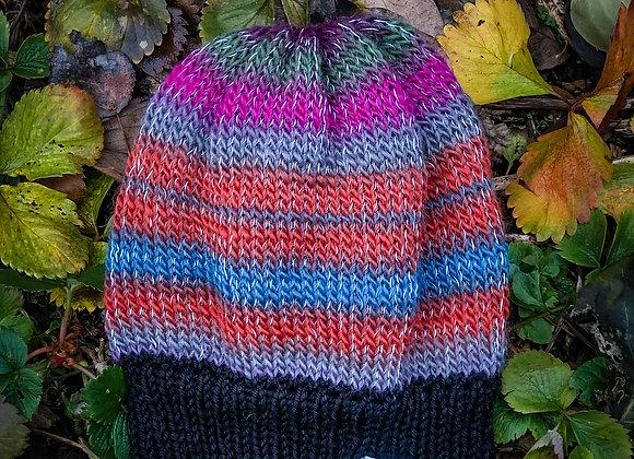 knit reflective hat, hydrangea