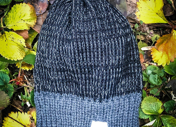 black knit reflective hat