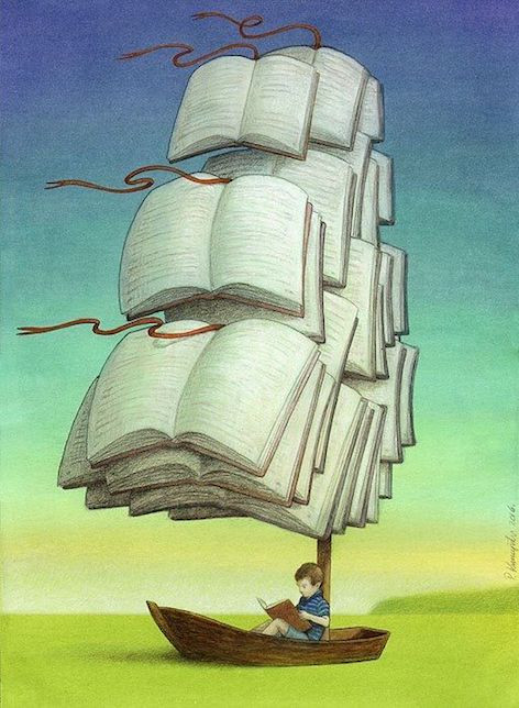 Image Of A SailBoat Where The Sails Are Made Of Books