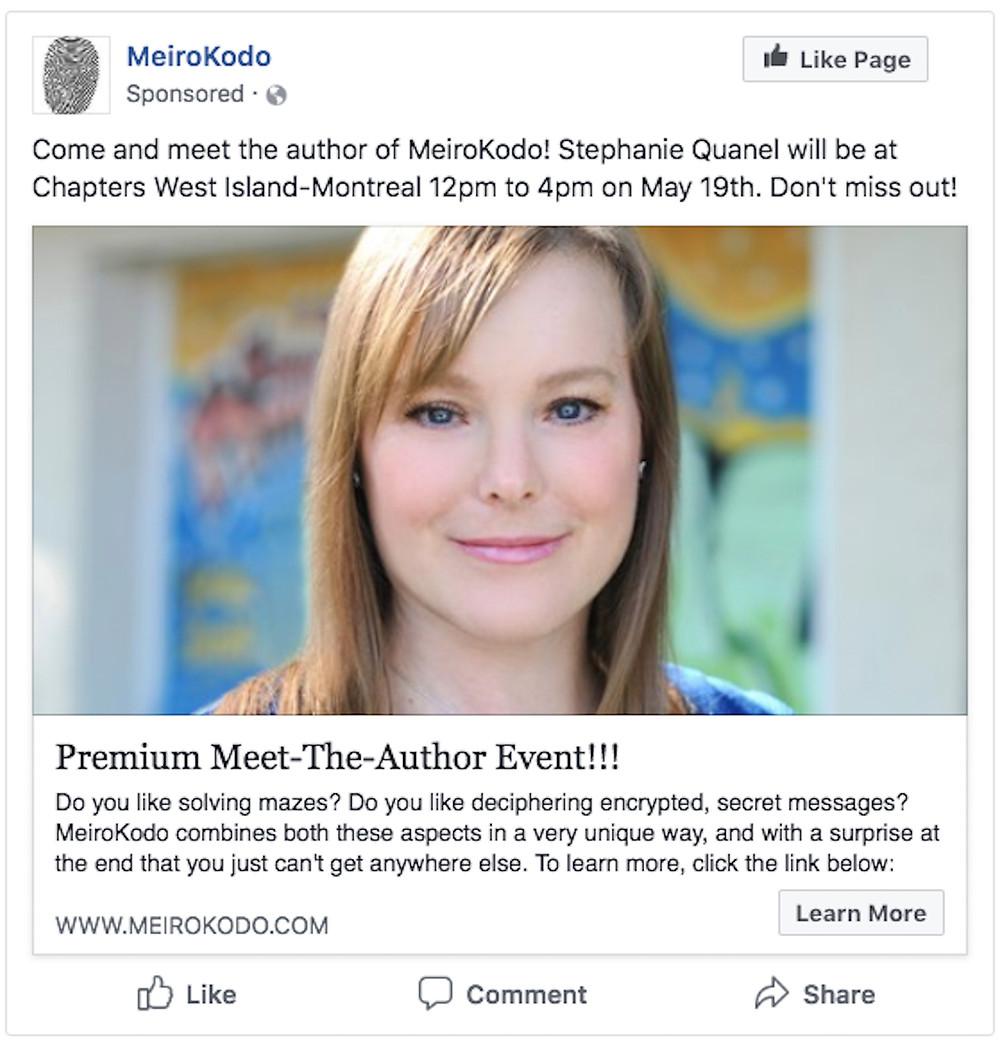 Image Of FB Announcement For Book Signing Event 19 May 2018