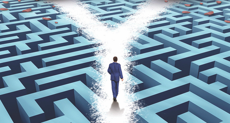 Image Of A Man Bypassing A Maze But Still Facing A Fork In His Path Ahead