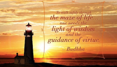 Image Of A Lighthouse With A Buddha Quote