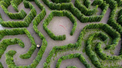Image Of A Hedge Maze Made In Hexagon Shapes