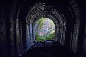 Image Of Tunnel With Lighted Garden At The End