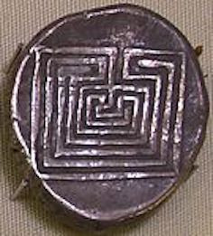 Image Of A Greek Coin With A Labyrinth Design