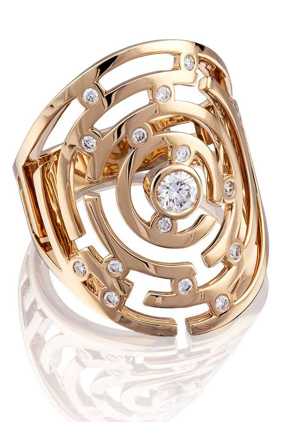 Gold and Diamond Maze Ring