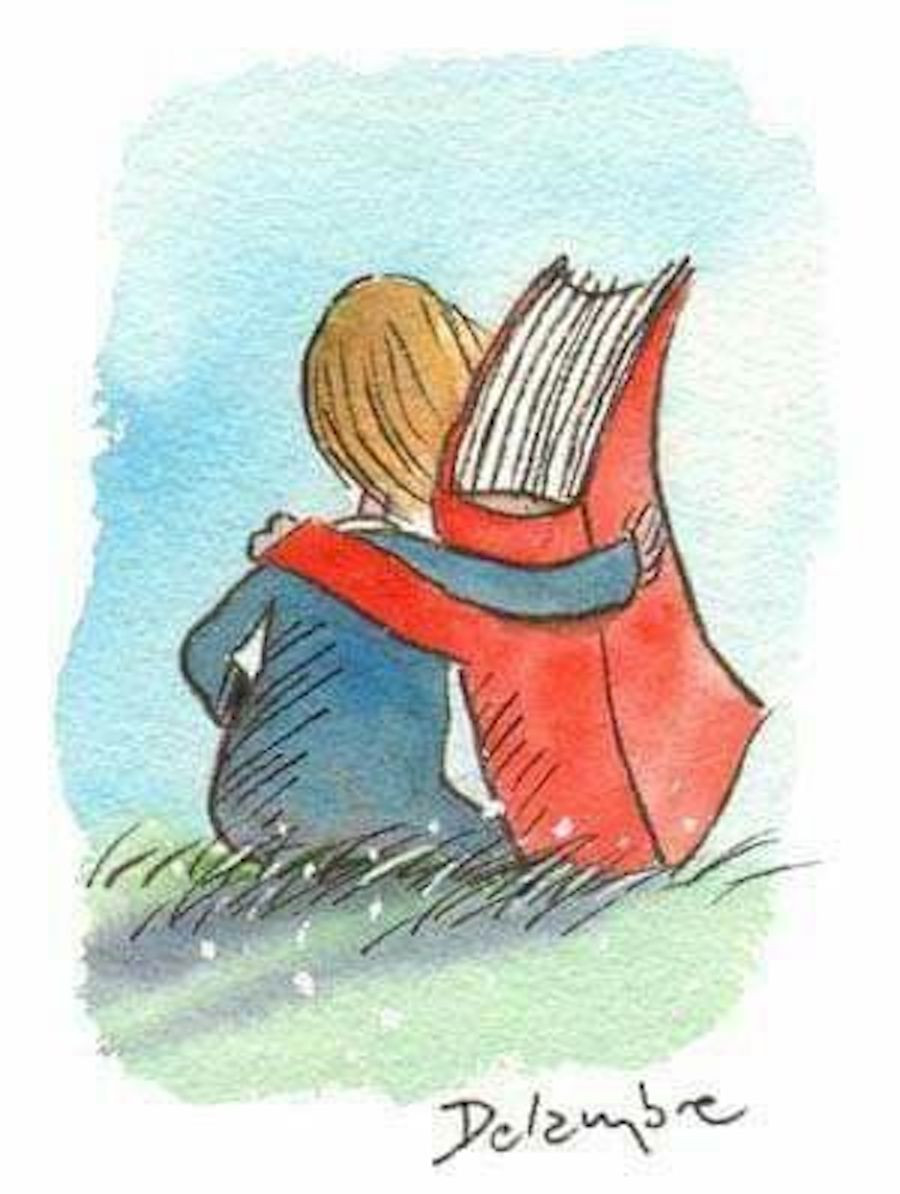 Image Of A Person And A Book As Best Friends