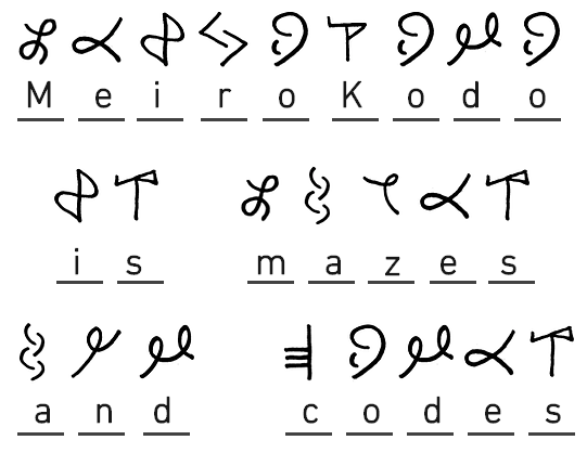 Image Sample Of A Solved Message Of Symbols Showing MEIROKODO IS MAZES AND CODES