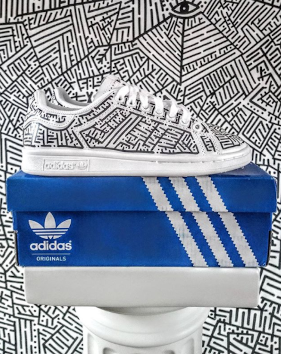 Image Of Addidas Shoes With Maze Artwork By The Artist KELKIN