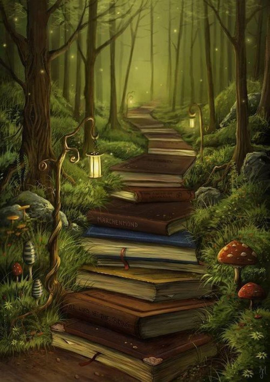 Image Of A Pathway Of Books