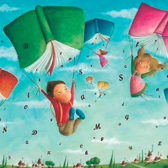 Image Of Children Using Books As Parachutes