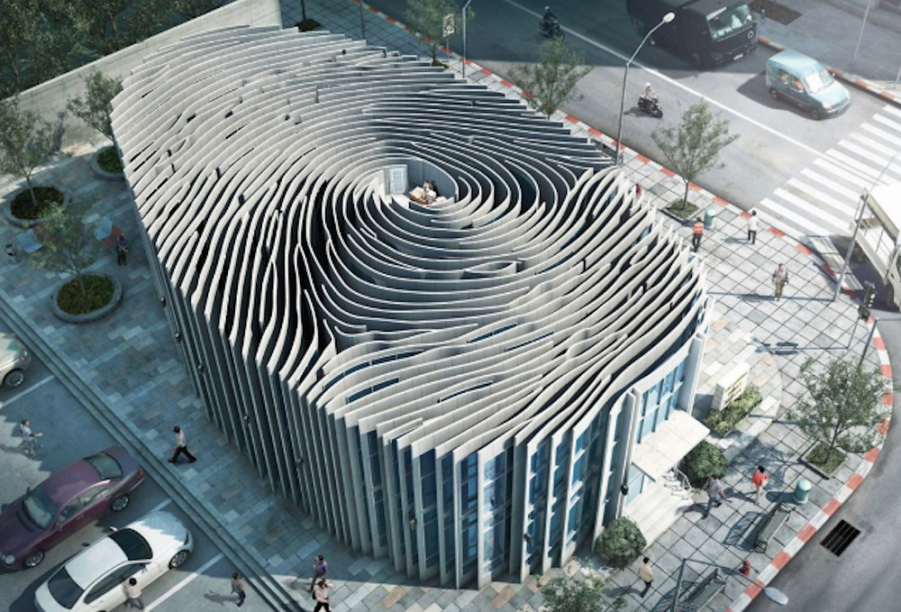 Image Of A Building In The Shape Of A Thumbprint