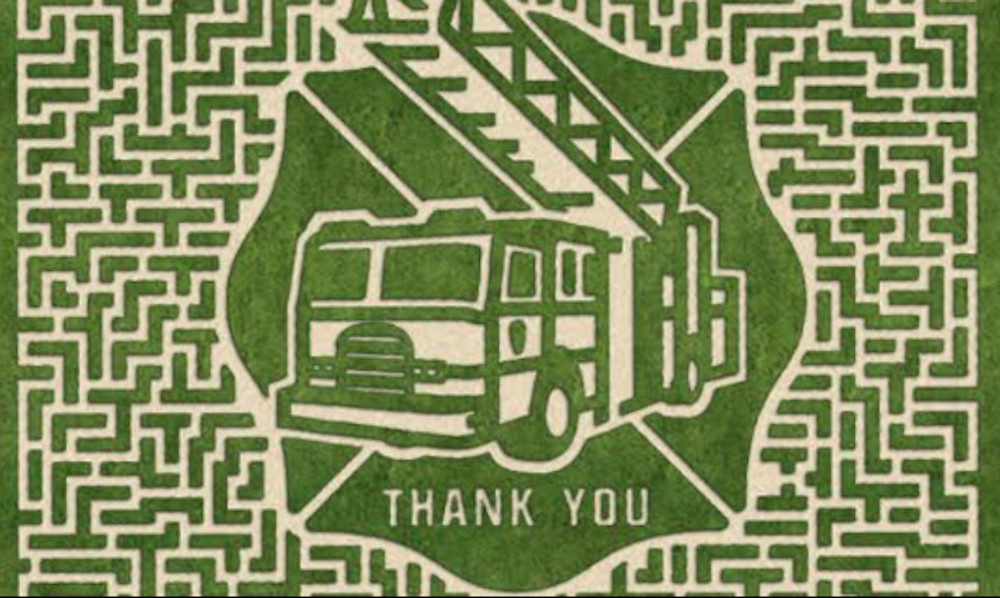 Image Of A Corn Maze Thanking FireFighters