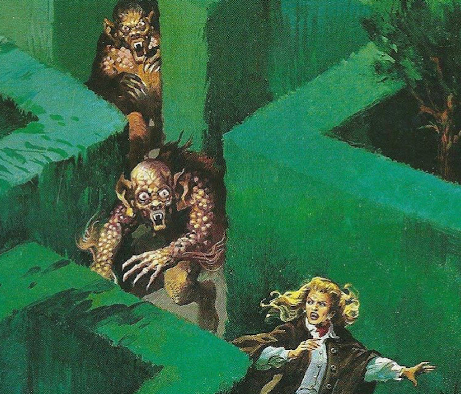 Image Of a Woman Running Away From Monsters In A Maze