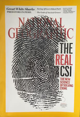 National Geographic Magazine With Cover Picture of a FingerPrint
