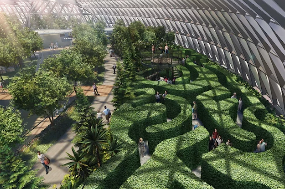 Image Of Hedge Maze At Singapore Airport