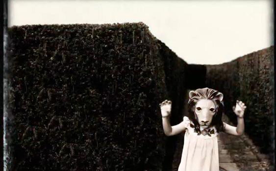 Image Of Girl With Lion Mask In A Maze