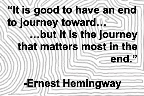 Image Of An Ernest Hemingway Quote:  It Is Good To Have An End To Journey Toward, But It Is The Journey That Matters Most In The End