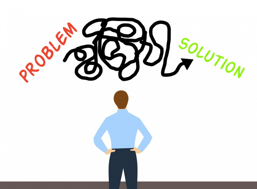 Image Of A Man Showing A Problem On One Side The Solution On The Other And A Winding Twisted Pathway From The Problem To The Solution