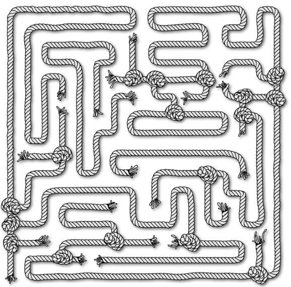 A Maze Of Rope With Knots And Dead-Ends