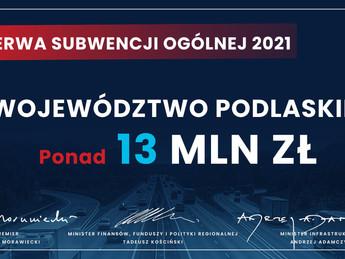 13 mln zł dla woj. podlaskiego