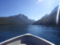 Boating across Redfish Lake on the way to a trailhead.