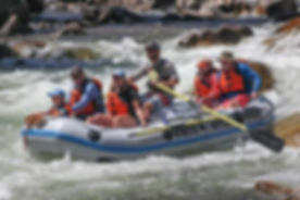 Guided rafting in class II and class III rapids on Salmon River close to the Sawmill Station, Idaho