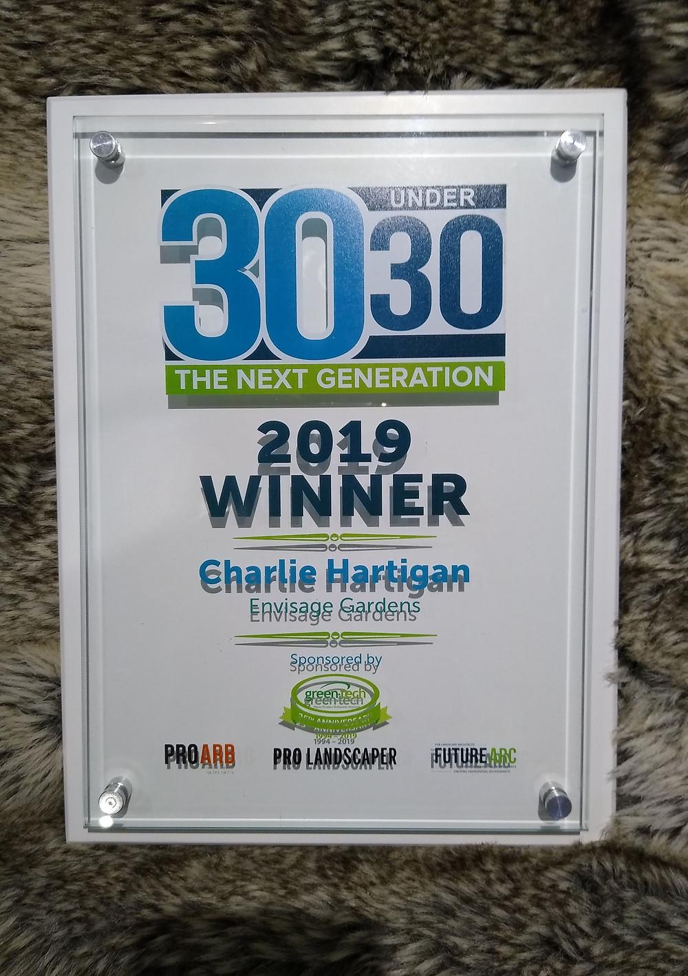 charlie hartigan 30 under 30 award pro landscaper