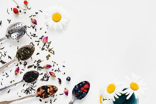 Variety of dried tea, dried herbal, gree