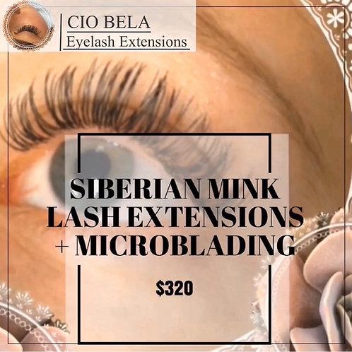 Microblading + Full Set of Siberian Mink Individual Eyelash Extensions