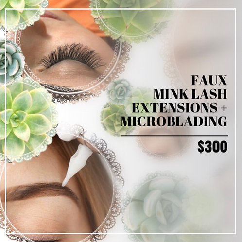 Gift Certificate: Microblading + Full Set Of Faux Mink Eyelash Extensions