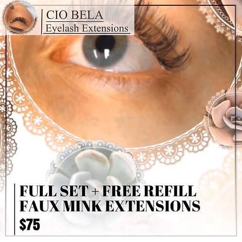 Gift Certificate: Full Set + One Refill of Faux Mink Eyelash Extensions