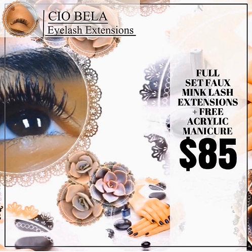 Full Set of Faux Mink Individual Eyelash Extensions + One Free Acrylic Manicure