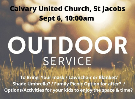 Sun Sept 6: Outdoor Service at 10am