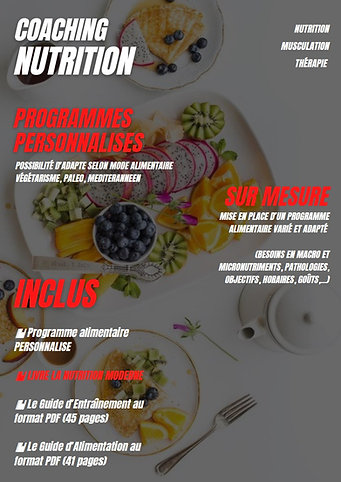 NUTRITION PROGRAMME PERSONNALISE
