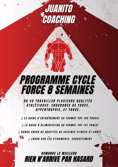 SALLE CYCLE FORCE 8 SEMAINES 5 SEANCES