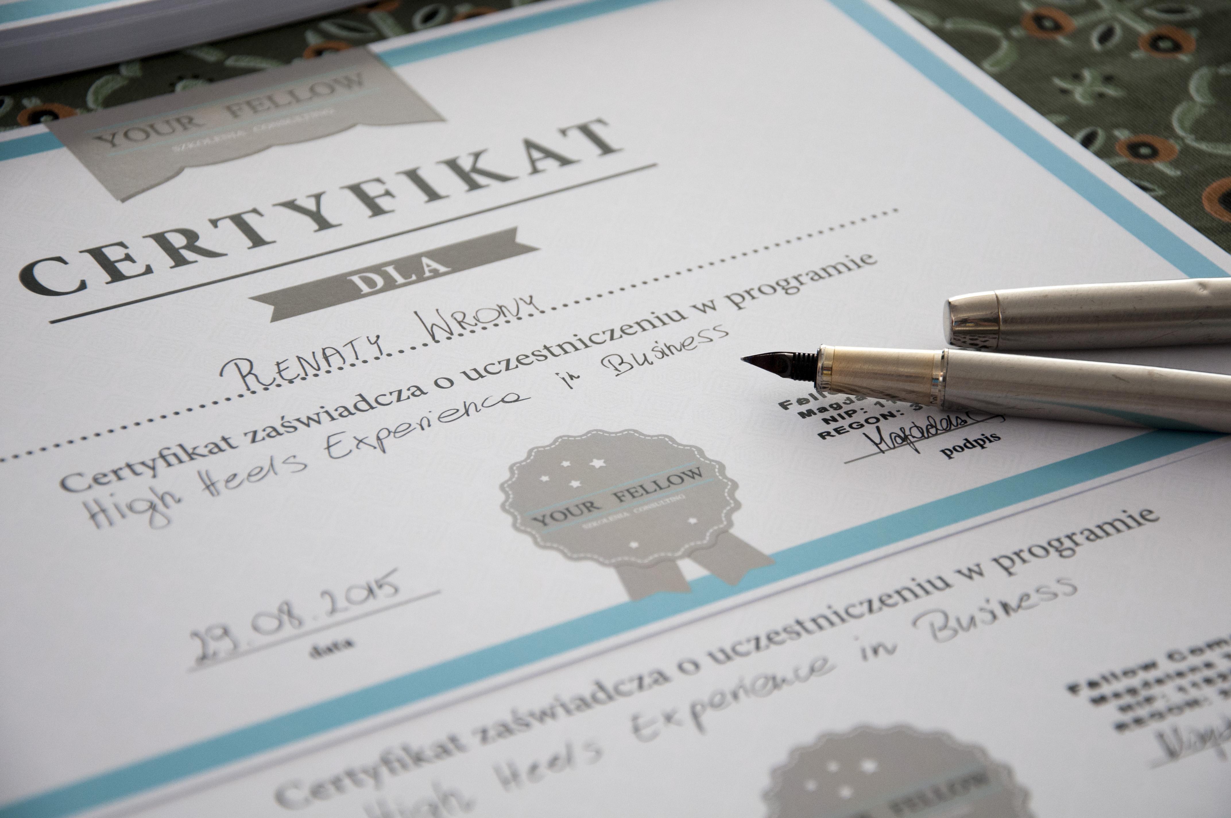Certyfikat uczestnika.