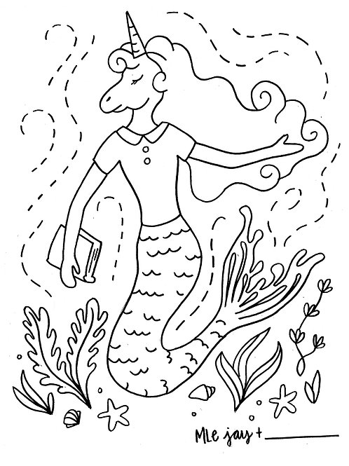 Unicorn Mermaid Coloring Sheet