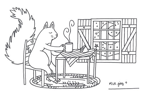 Coffee with Squirrel Coloring Sheet