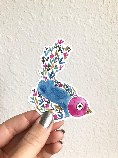 Wildflower Bird Die-cut Sticker