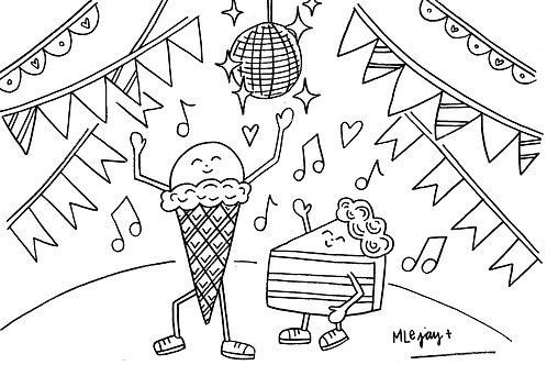 Dancing Desserts Coloring Sheet