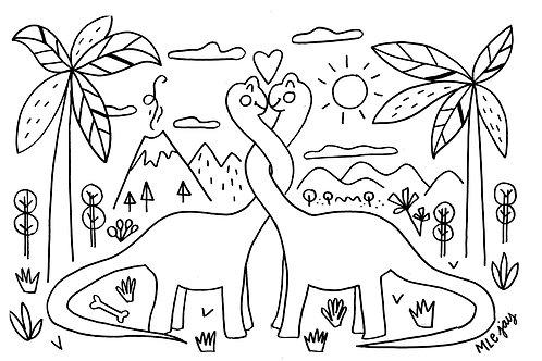 Dinos In Love Coloring Sheet