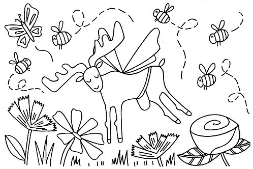 Moose and Friends Coloring Sheet