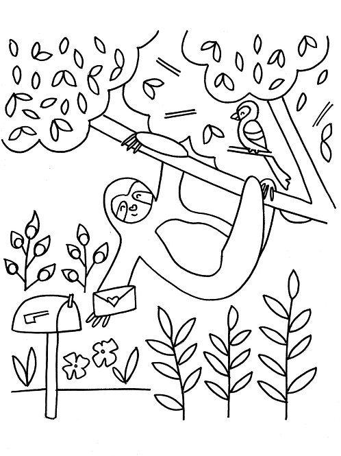Sloth Mail Coloring Sheet