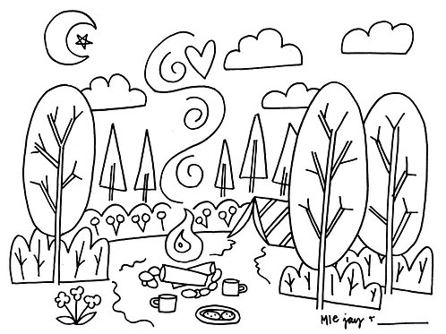 Campfire Cookies Coloring Sheet